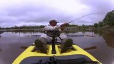 Kayak fly fishing for bass