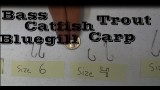 Hook Size to Use for Bass, Crappie, Catfish, Bluegill, Walleye, Trout Fishing